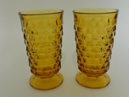 Indiana Glass Whitehall Colony Cubist Amber Footed Ice Tea Water Tumbler... - $13.74