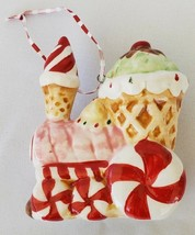 Christmas Ornament Candy Train Engine Ceramic Peppermint Sugar Cone Vtg ... - $22.77