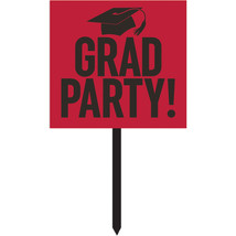"Gradutaion 14 1/2"" x 15 1/2"" Red Paper Yard Sign, Case of 6 - £32.36 GBP"