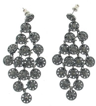 VINTAGE GREY BLACK GUN METAL DANGLING DISKS GREY RHINESTONES CHANDELIER ... - $24.29