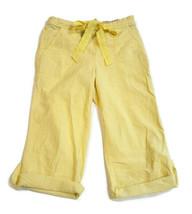 Victoria Secret Pink PJ Pajama Pants Cotton Yellow Stripe Crop Drawstrin... - $17.72