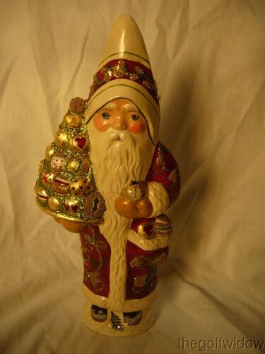 Vaillancourt Folk Art Brocaded Coat Santa Signed by Judi Vaillalncourt
