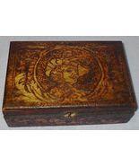 Old Vintage Pyrography Wood Box Flemish Design - $32.95