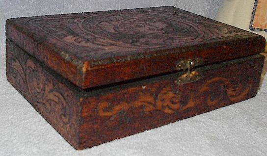 Old Vintage Pyrography Wood Box Flemish Design