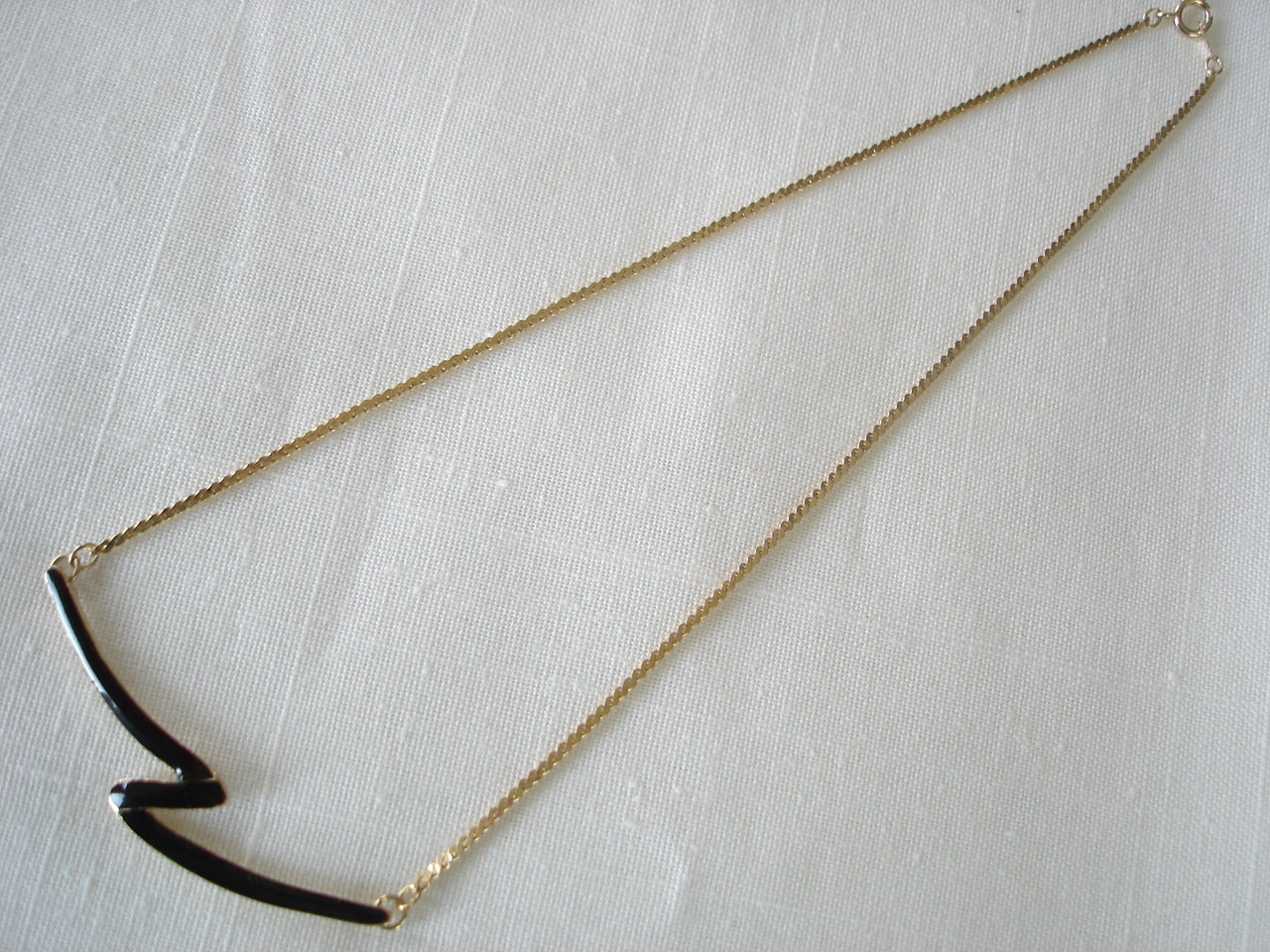 Z Goldtone Enameled Pendant Necklace, Chain