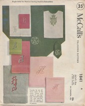 Vintage Embroidery Transfer Pattern McCall's 1841 Monogram Letter A 1953 - $8.90