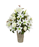 Rose & Lily Artificial Arrangement in Weathered Vase - $92.51