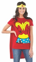 Rubie'S Costume Dc Comics Wonder Woman T-Shirt With Cape Headband Red Me... - $14.30