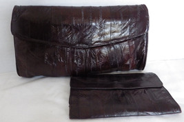 1970s Beautiful Vintage Eelskin Clutch Bag Handbag and Matching Wallet C... - $30.00