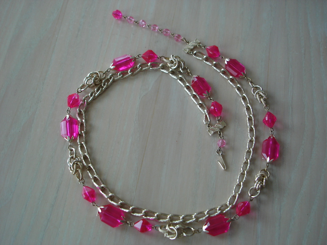 Goldtone & Hot Pink Acrylic Bead 2 Strand Necklace, Hong Kon