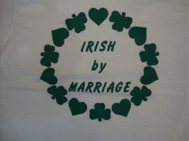 Vintage Irish by Marriage St. Patrick's Day Ringer White T Shirt S - $16.82