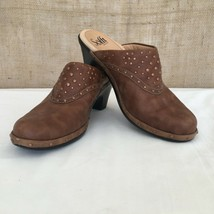 SOFFT Brown Leather Mules Clog Studded Womens size 7 1/2 M Slip-on No Back - $32.54
