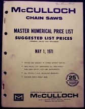 McCulloch Canada 1971 Chain Saw Master Price List - $12.95