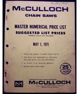 McCulloch Canada 1971 Chain Saw Master Price List - $12.95