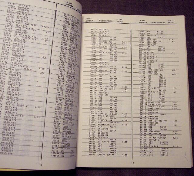 McCulloch Canada 1971 Chain Saw Master Price List