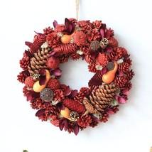 """Natural Dry Flowers Pine Cones Door Wreath Christmas D13.7"""" Home Decorat... - $41.79"""