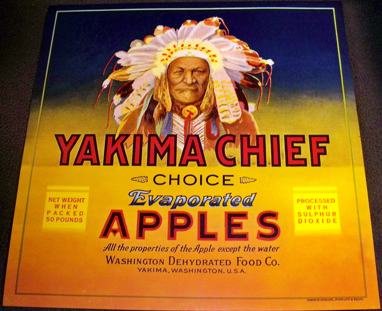 Large Indian! Yakima Chief Crate Label, 1930's