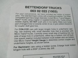 Micro-Trains Stock # 00302022 (1003)  Bettendorf Trucks Medium Extension N-Scale image 3