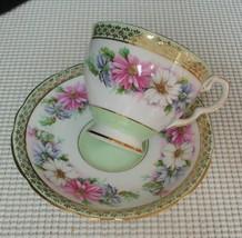 Vintage Royal Stafford FLORAL BAND GREEN & GOLD TRIM China TEA CUP & SAU... - $16.48
