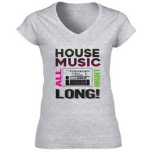 House Music All Night - New Cotton Grey Lady Tshirt - $25.23