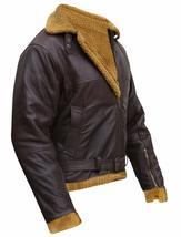 Men's B3 Sheepskin Aviator Flight Fur Shearling Brown Bomber Leather Jacket image 4
