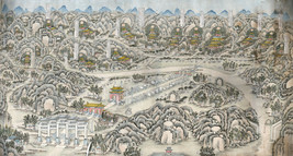 Pictorial Map Panoramic View of 13 Ming Emperor Tombs 1875-1908 China Art Poster - $13.00+