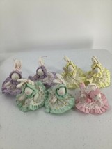 7 Russ Bunny Rabbit Miniature Fabric Stuffed Ornaments Yellow Pink Green Purple - $24.30