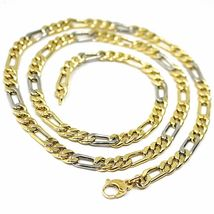 18K YELLOW WHITE GOLD CHAIN, BIG 6 MM FIGARO GOURMETTE ALTERNATE 3+1, 24 INCHES image 3