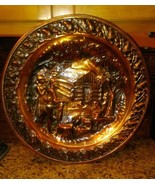 Coppercraft Guild Large Copper Wall Hanging w/ Log Cabin Man & Woman Sce... - $19.79