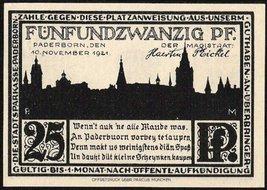 1921 GERMAN NOTGELD PADERBORN 25 PFENNIG MONEY NOTE - $7.84