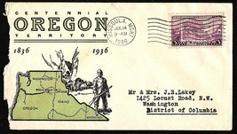 1936 US STAMPED FIRST DAY COVER OREGON CENTENNIAL - $4.99