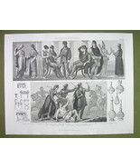 GREEK LIFE Phrygia Turkey  Women Dress Fashion - 1870s Engraving Antique... - $12.15