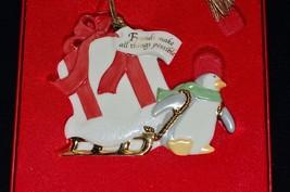 LENOX White Friendship Penguin Christmas Ornament in Box China Penquin - $14.82