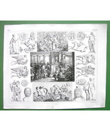 MYTHOLOGY Sacrifice to Neptune ROman Gods Deities - 1844 SUPERB Engravin... - $14.85