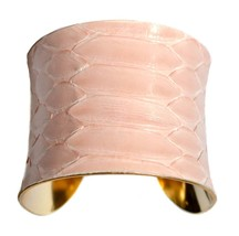 Rose Petal Pink and Gold Snakeskin Cuff Bracelet - by UNEARTHED - $70.00