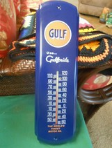 "NEW- Great Metal Thermometer GULF Motor Oil and Gasoline ""Use Gulfpride"" - $32.26"