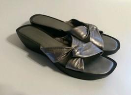 Nine West Women Leather Sandals Silver Color Size 9M - $14.36