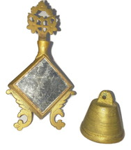 Vintage Small Brass Bell and Ornate Mirror  - $19.99