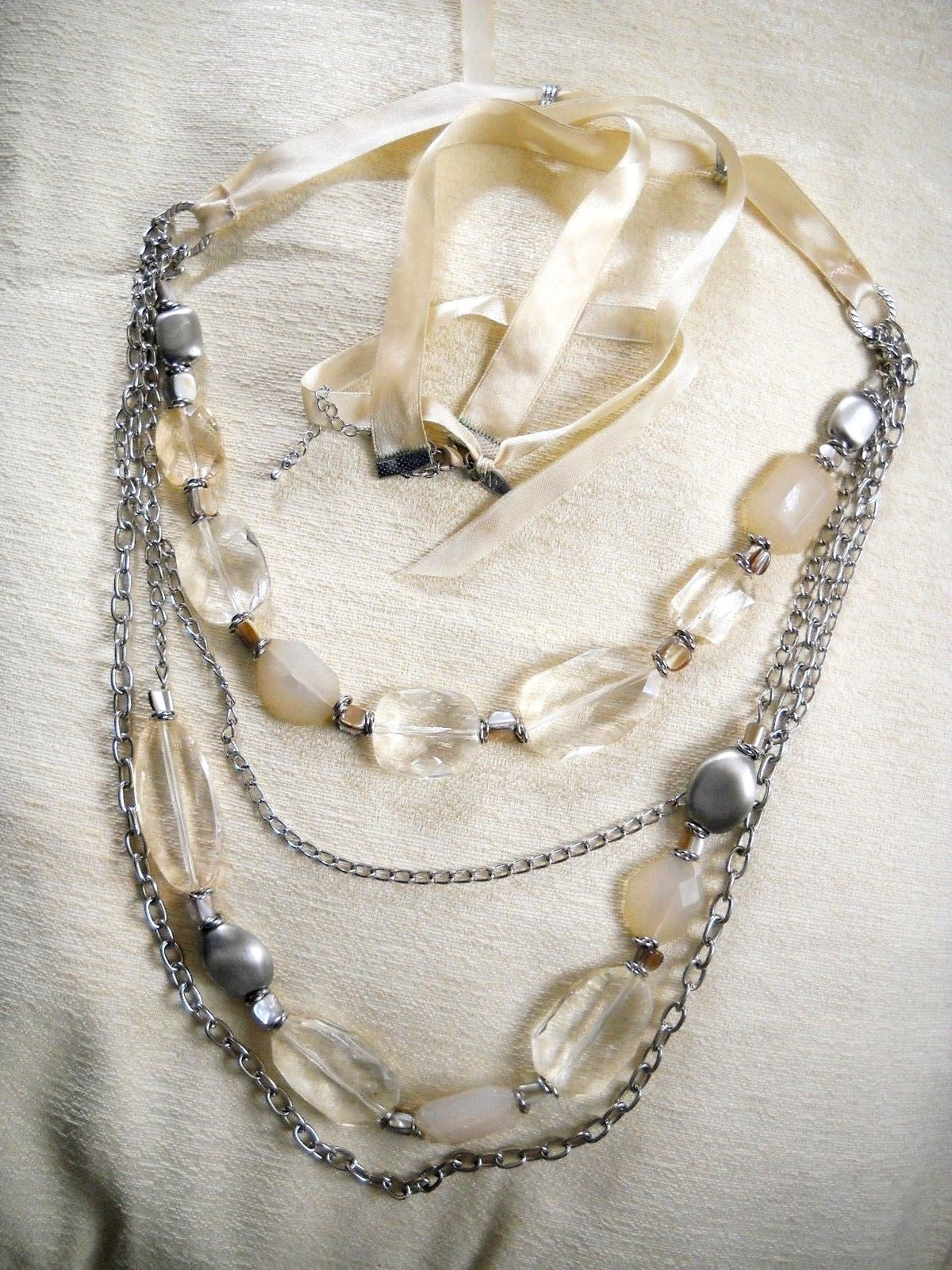 Primary image for 4-STRAND PALE YELLOW FAUX CRYSTAL & SILVER TONE CHAIN-LINK BELLY DANCING BELT