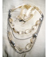 4-STRAND PALE YELLOW FAUX CRYSTAL & SILVER TONE CHAIN-LINK BELLY DANCING... - $19.99