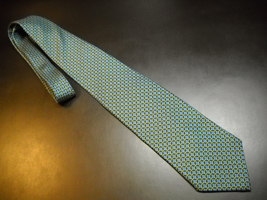 Brooks Brothers Makers Neck Tie Black and Blue with Green Links Imported Silk - $10.99