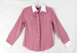 Talbots Shirt 2 XS size Womens Red White Button Wrinkle Resistant Top Work Play - $16.82