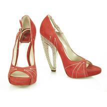 Christian Dior Red Suede Leather Peep Toe Pumps Rhinestone Heel Shoes sz 37.5 - $366.30