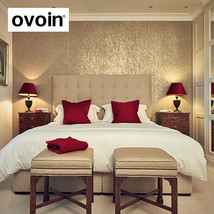 ovoin Silver Striped Textured Wallpaper For Walls Roll Metallic Grasscloth Gold  - $79.95