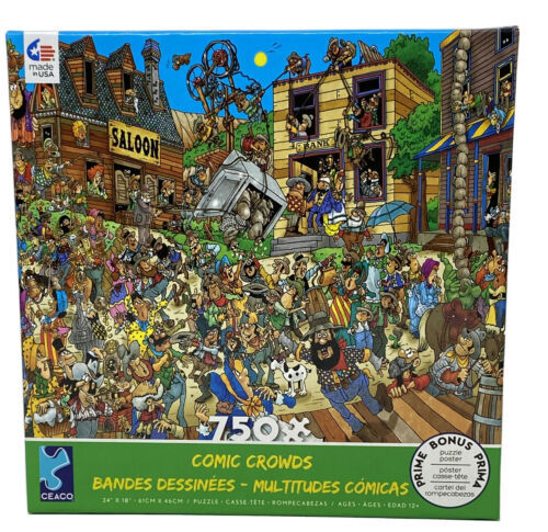 """Comic Crowds Ol' West Old Western Town 750 Pieces Jigsaw Puzzle 24""""x18"""" New - $14.85"""