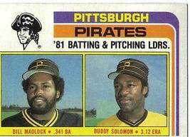 1982 Topps Bill Madlock Buddy Solomon Pittsburgh Pirates #696 Baseball Card - $1.97