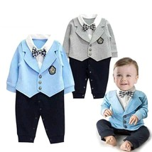 2018 Fashion Baby Boys Rompers Spring Autumn Cotton Gentleman Tie Clothe... - $17.10