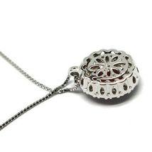 Necklace White Gold 750 18K, Flower, Ruby 0.85 Oval, Diamonds, Chain Venetian image 5