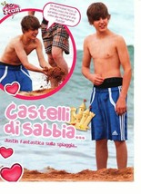 Justin Bieber teen magazine pinup clipping shirtless playing in the sand adidas