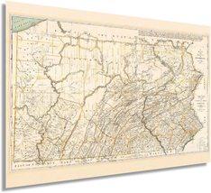 1792 Pennsylvania State Map - Pennsylvania Vintage Map Wall Art - Pennsylvania W - $34.99+